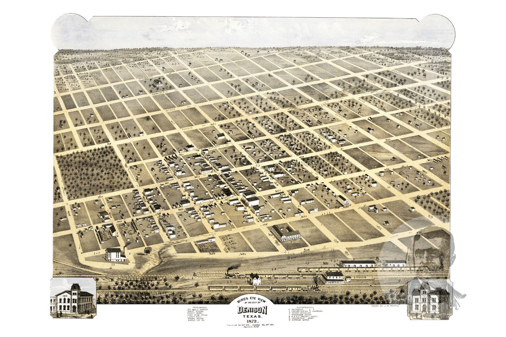Denison, TX Historical Map - 1873 - Ted's Vintage Maps