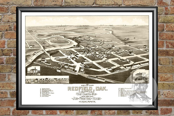 Redfield, SD Historical Map - 1883
