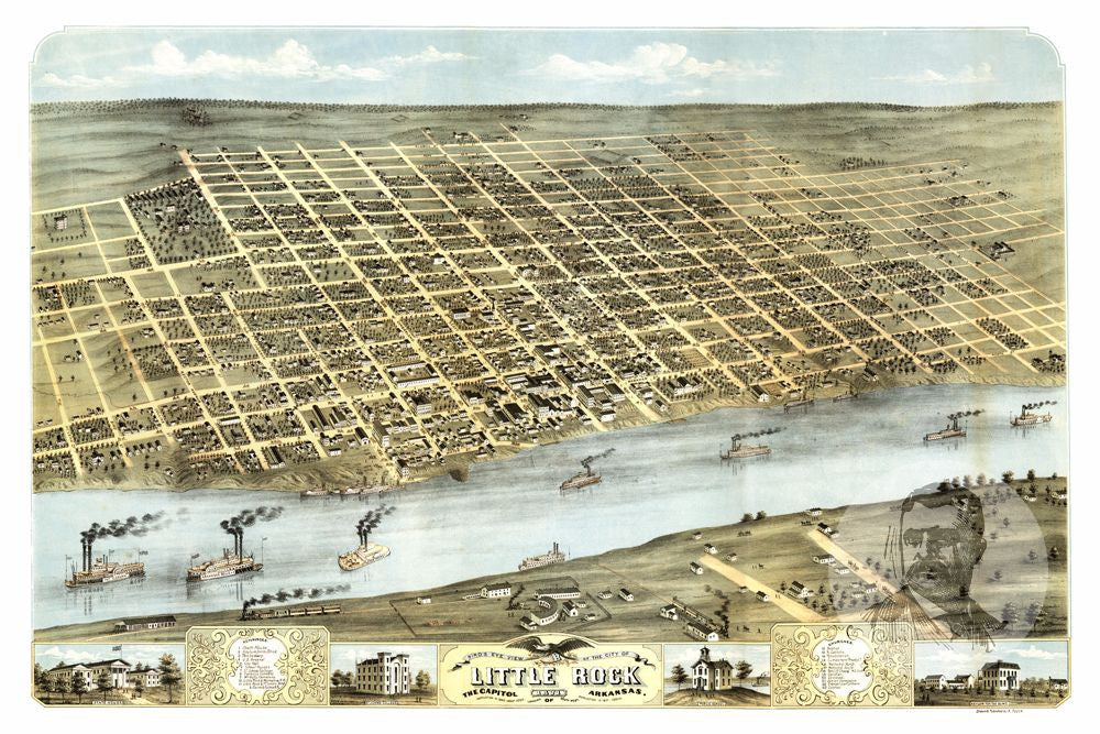Little Rock, AR Historical Map - 1871
