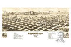 Gunnison, CO Historical Map - 1882