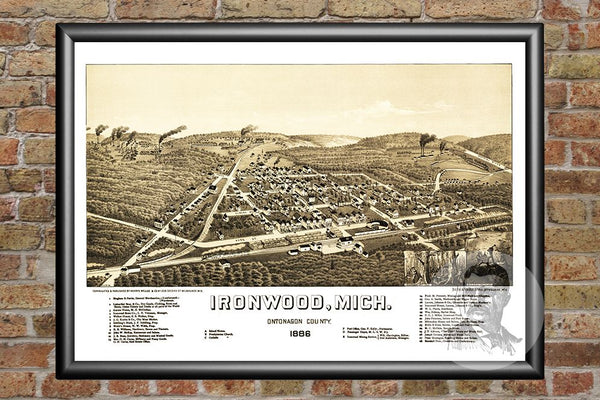Ironwood, MI Historical Map - 1886