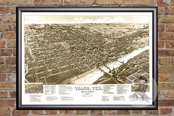 Waco, TX Historical Map - 1886