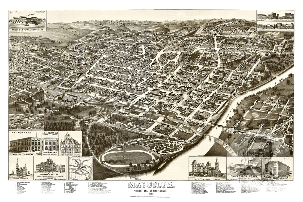 Macon, GA Historical Map - 1887