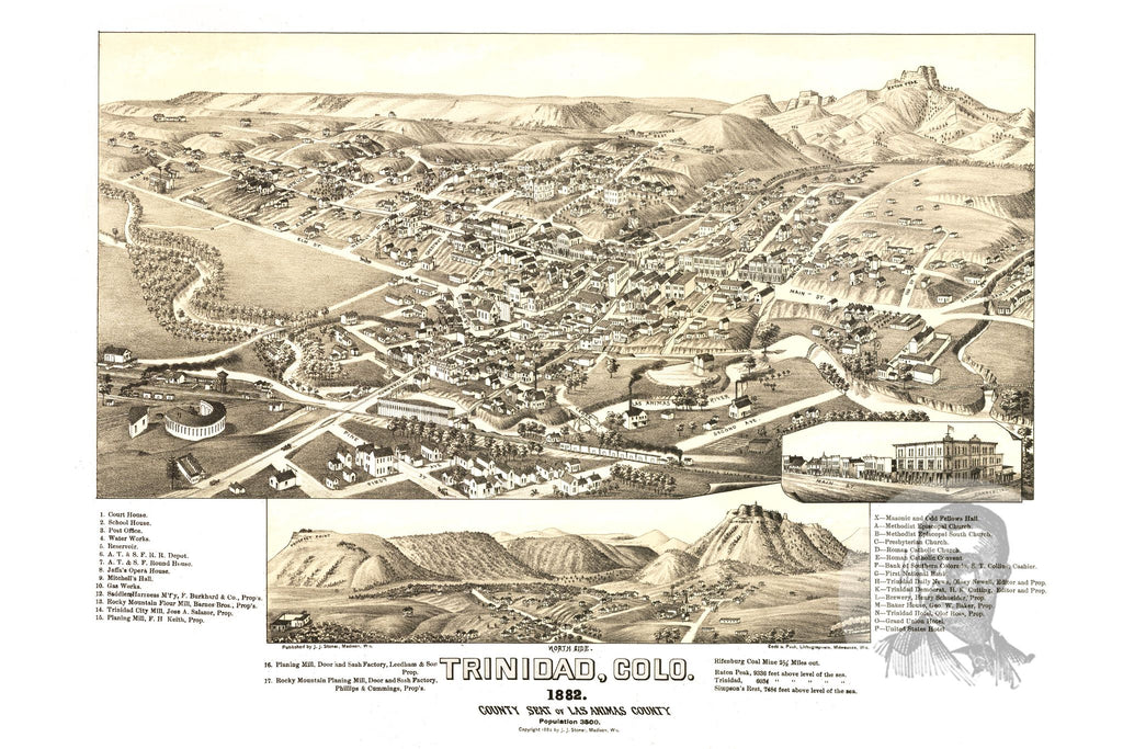 Trinidad, CO Historical Map - 1882
