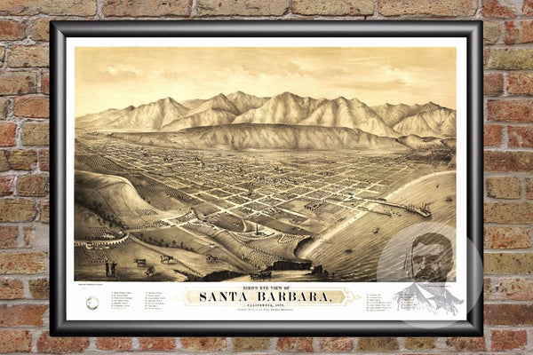 Santa Barbara, CA Historical Map - 1877
