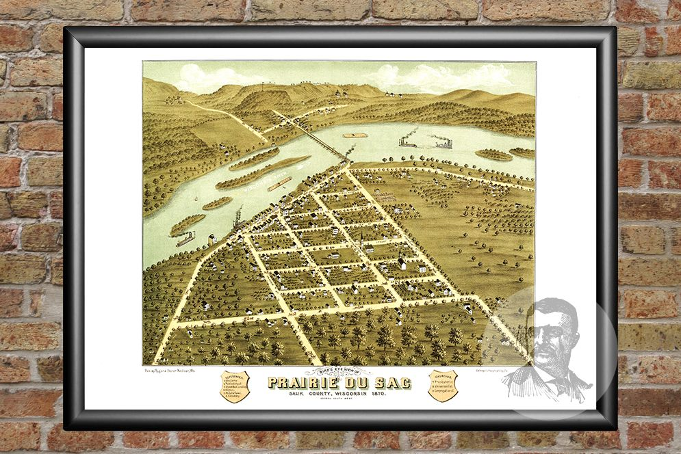 Prairie du Sac, WI Historical Map - 1870