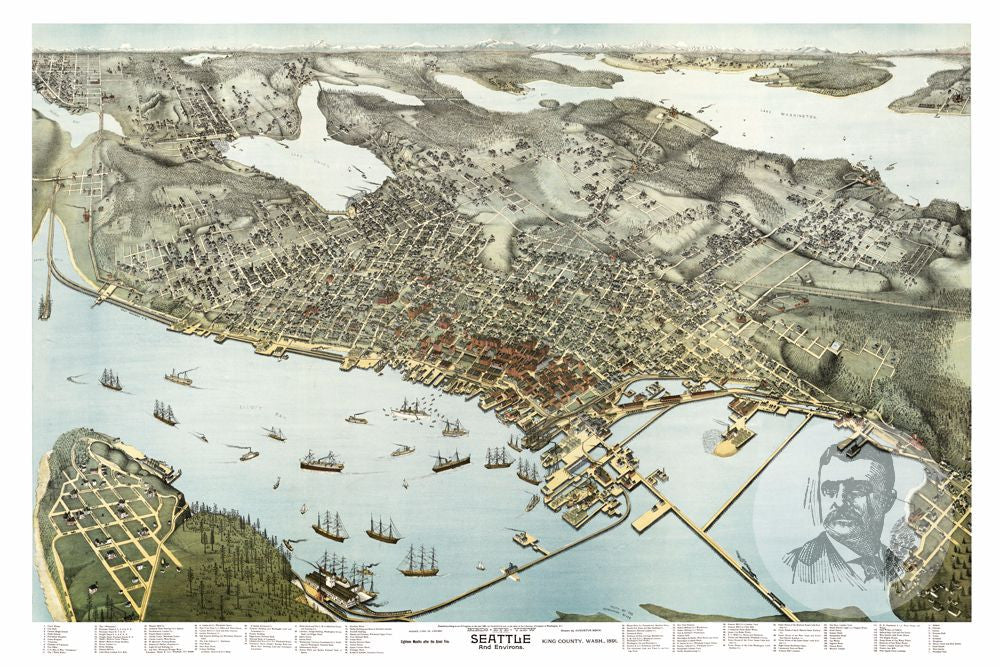 Seattle, WA Historical Map - 1891