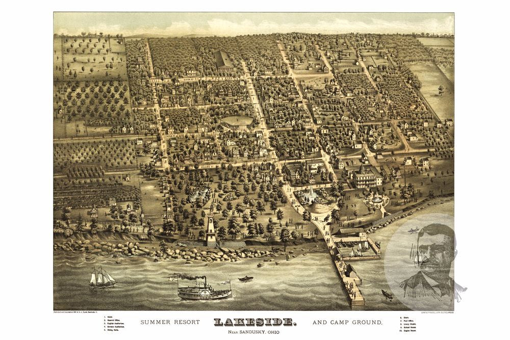 Sandusky, OH Historical Map - 1884