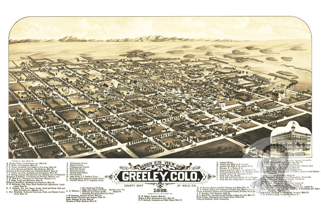 Greeley, CO Historical Map - 1882 - Ted's Vintage Maps
