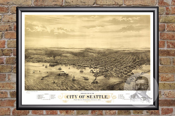 Seattle, WA Historical Map - 1878