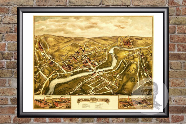 Naugatuck, CT Historical Map - 1877