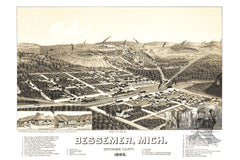 Bessemer, MI Historical Map - 1886