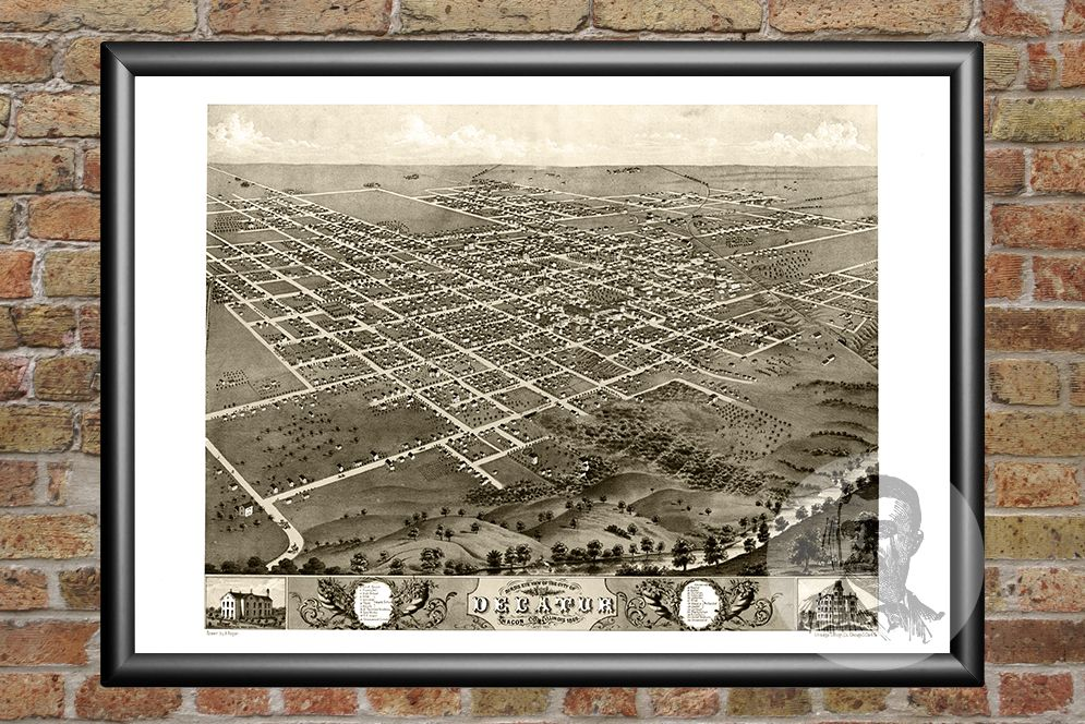 Decatur, IL Historical Map - 1869 - Ted's Vintage Maps