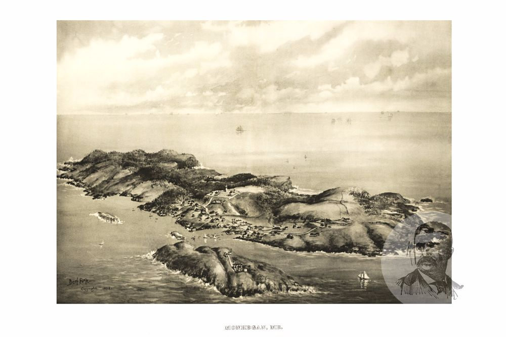 Monhegan, ME Historical Map - 1896