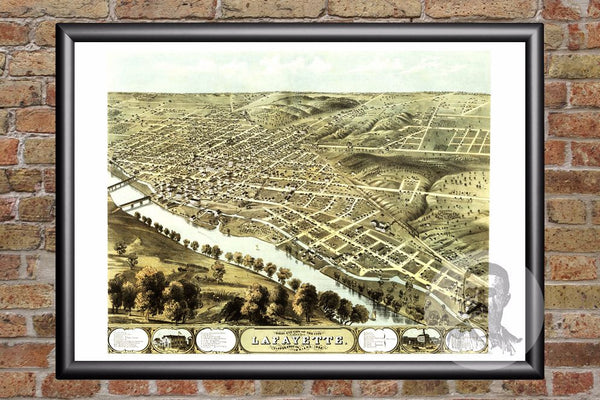 Lafayette, IN Historical Map - 1868