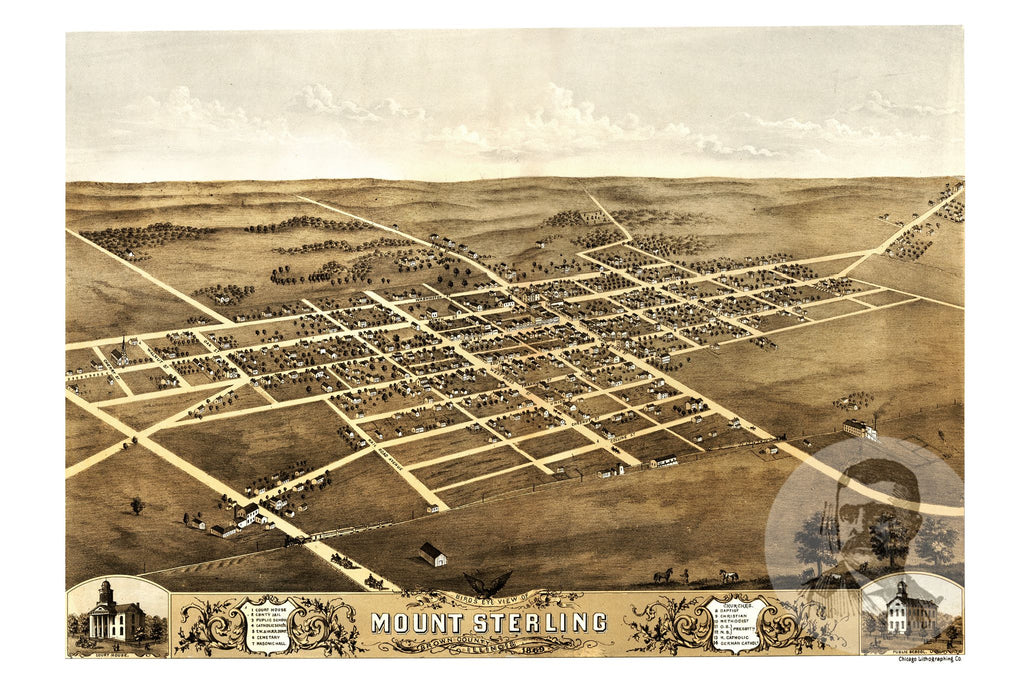 Mount Sterling, IL Historical Map - 1869