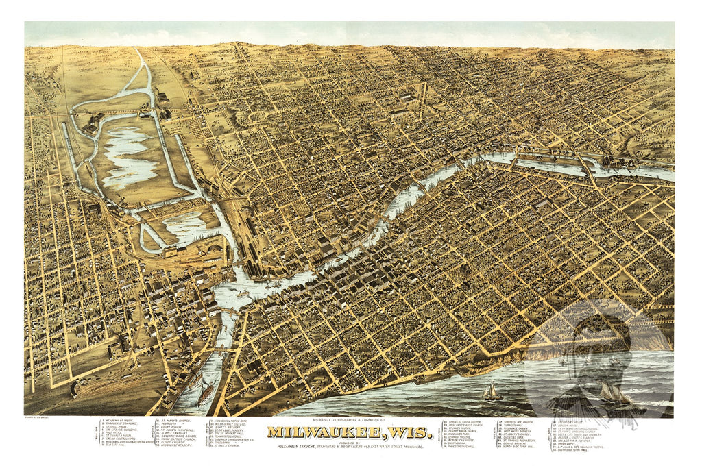 Milwaukee, WI Historical Map - 1872