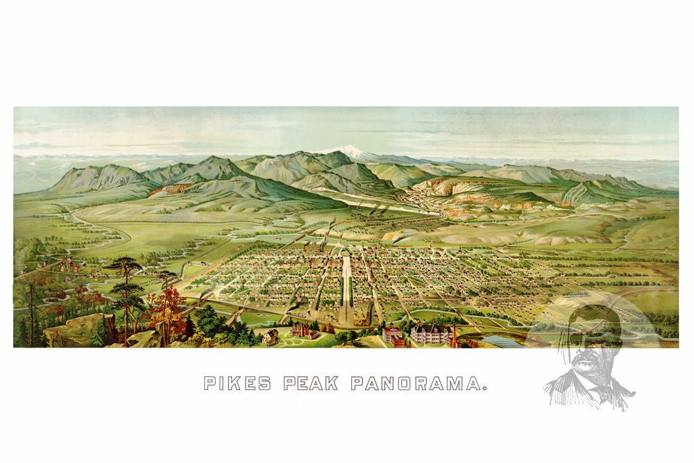 Pikes Peak, CO Historical Map - 1890