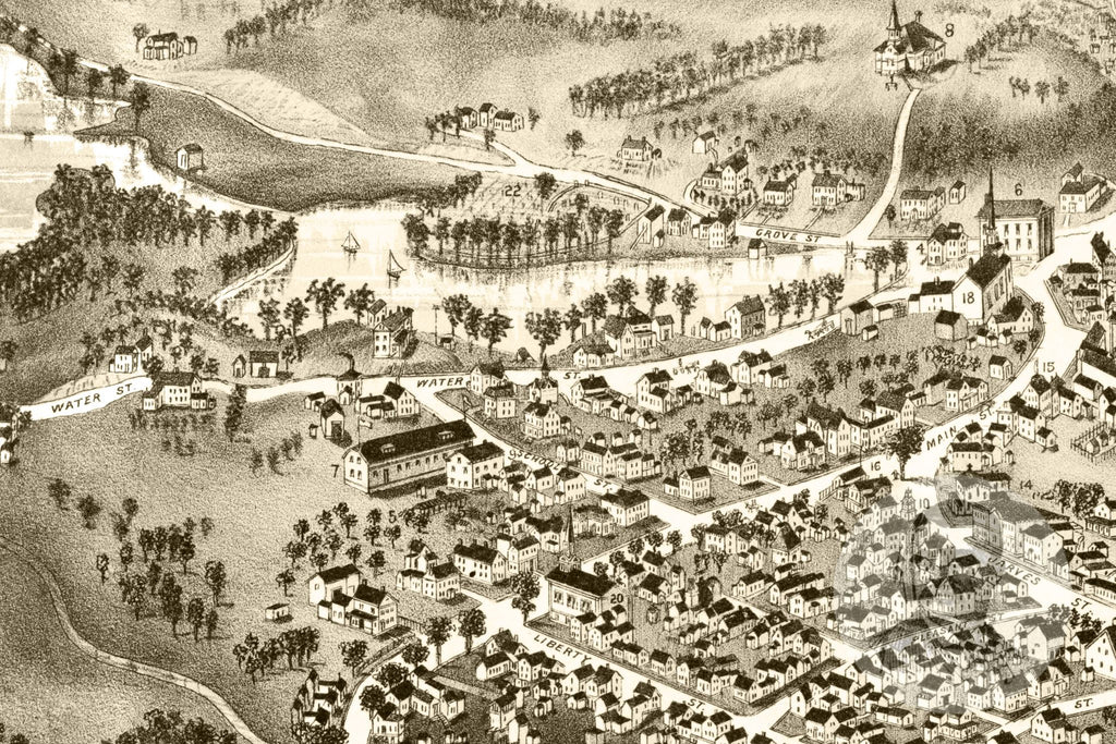 Sandwich Village, MA Historical Map - 1884