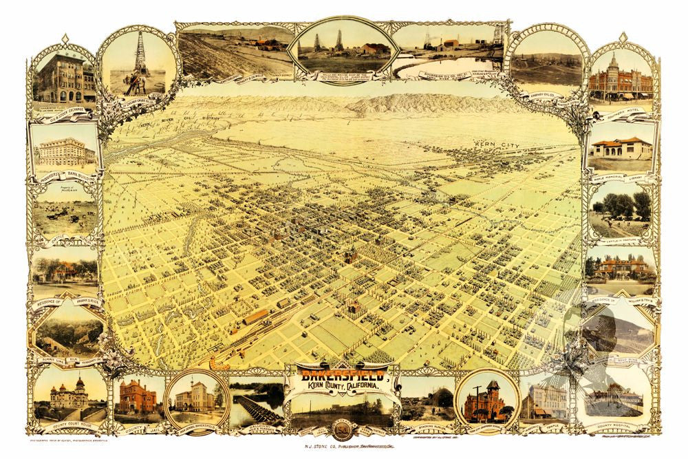 Bakersfield, CA Historical Map - 1901 - Ted's Vintage Maps