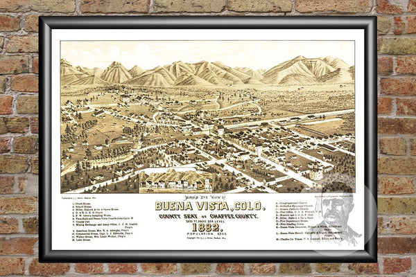 Buena Vista, CO Historical Map - 1882