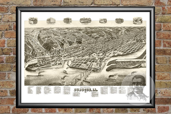 Dubuque, IA Historical Map - 1889