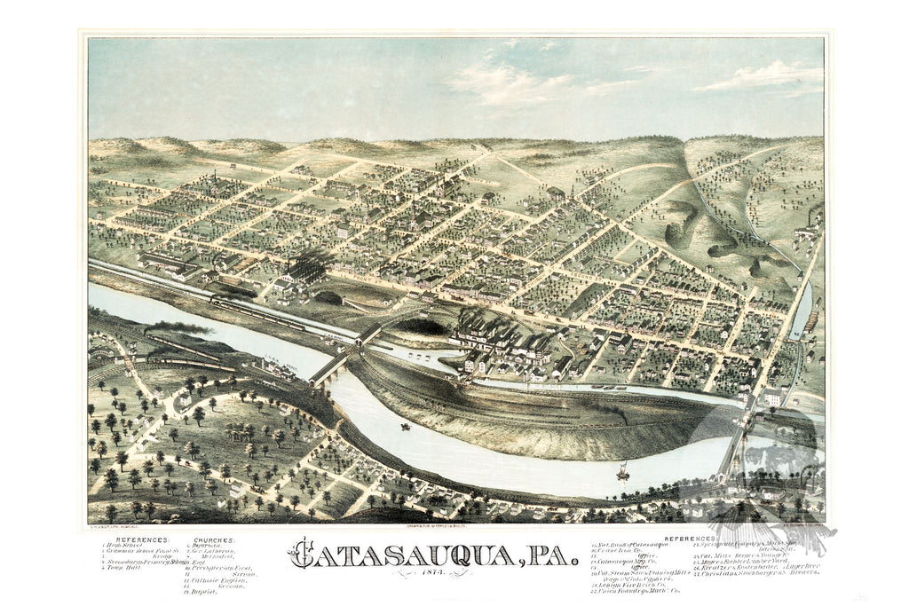 Catasauqua, PA Historical Map - 1873 - Ted's Vintage Maps
