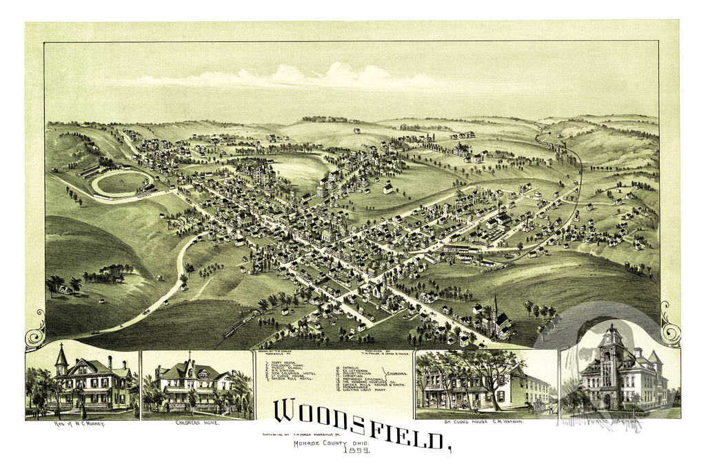 Woodsfield Ohio Map.Woodsfield Oh Historical Map 1899 Ted S Vintage Art