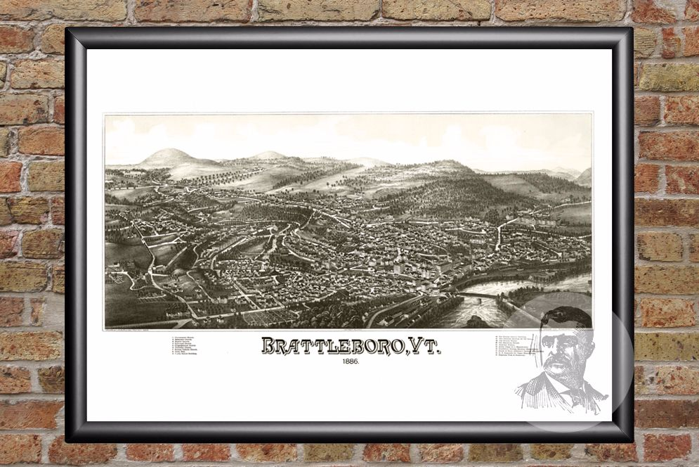 Brattleboro, VT Historical Map - 1886 - Ted's Vintage Maps