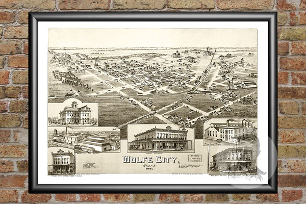 Wolfe City, TX Historical Map - 1891
