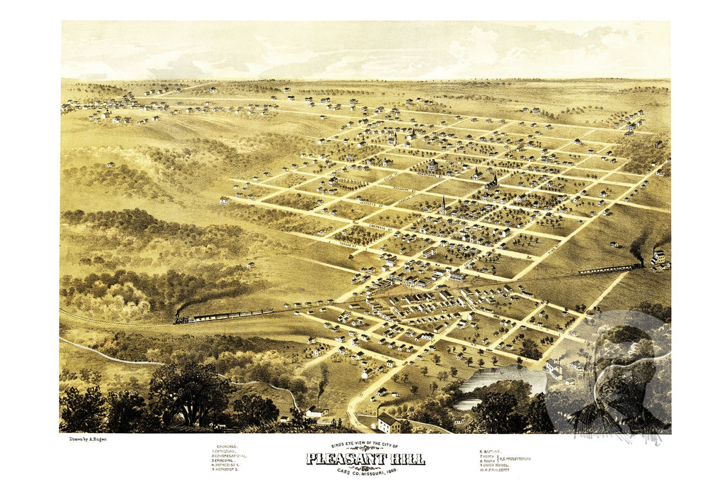 Pleasant Hill, MO Historical Map - 1869