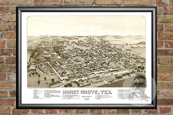 Hone Grove, TX Historical Map - 1885