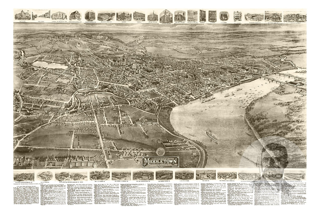 Middletown, CT Historical Map - 1915