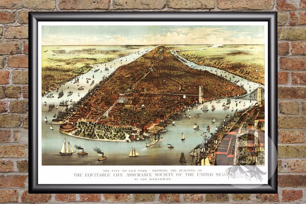 New York, NY Historical Map - 1870