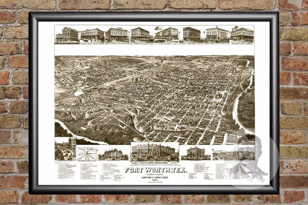 Fort Worth, TX Historical Map - 1886