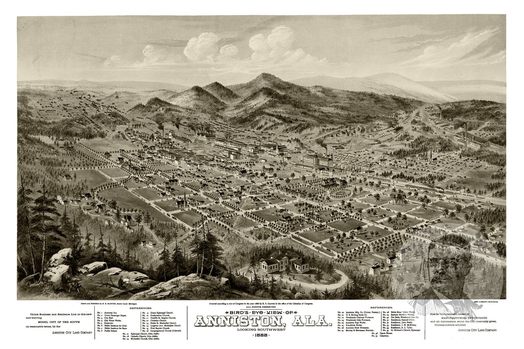 Anniston, AL Historical Map - 1888 - Ted's Vintage Maps