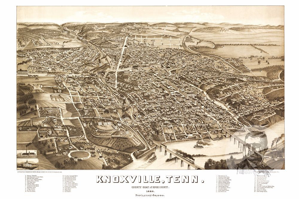 Knoxville TN Historical Map Teds Vintage Art - Tenn map