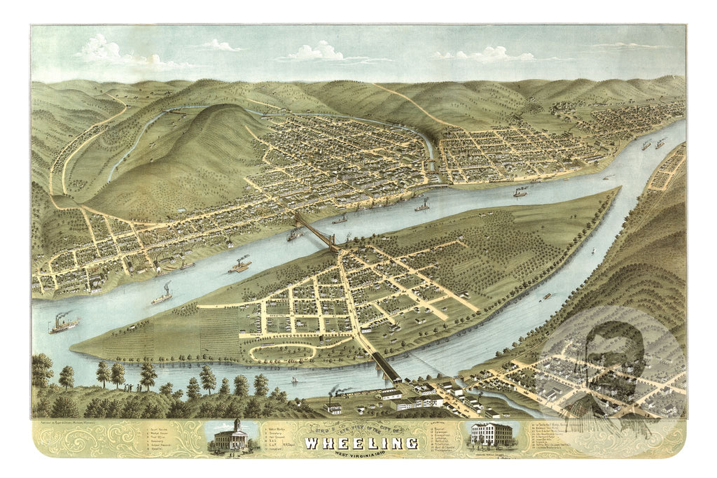 Wheeling, WV Historical Map - 1870