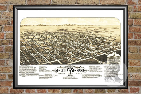 Greeley, CO Historical Map - 1882