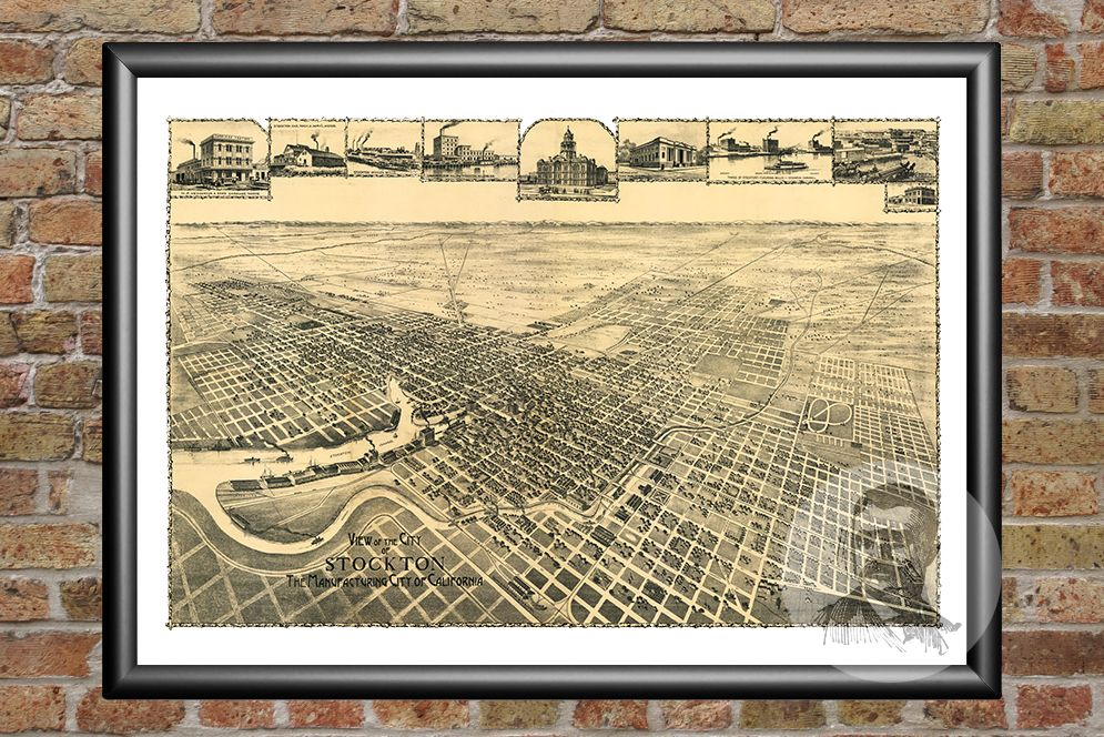 Stockton, CA Historical Map - 1895