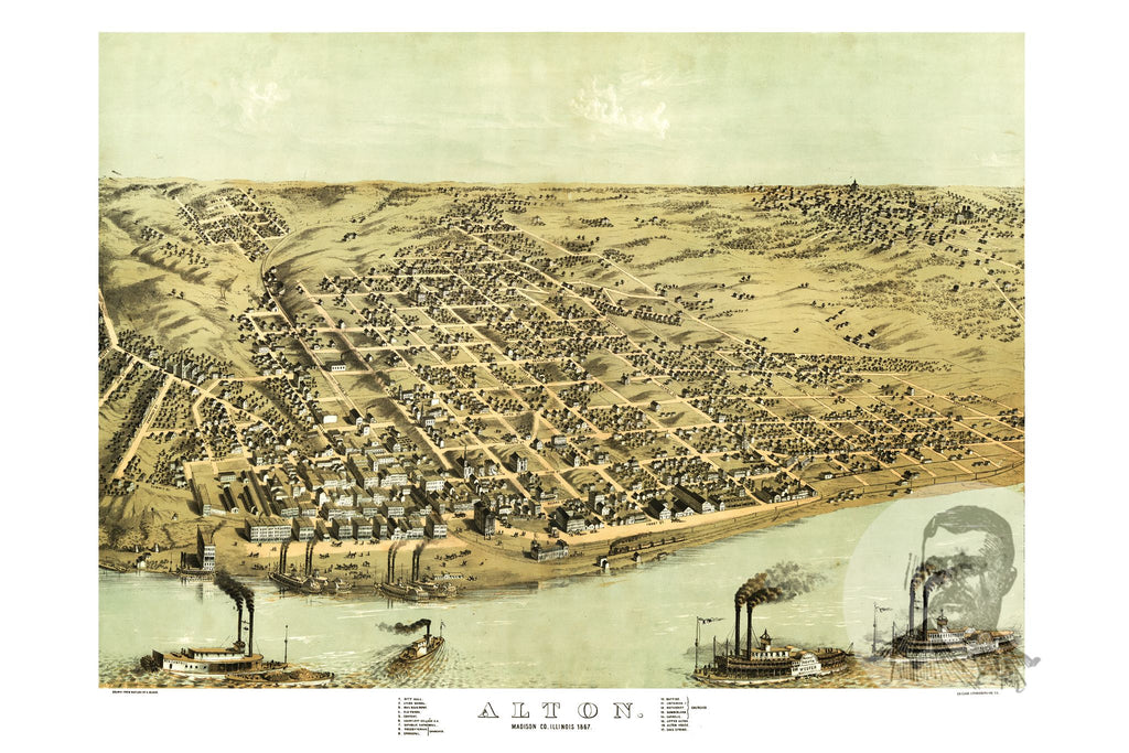Alton, IL Historical Map - 1867 - Ted's Vintage Maps
