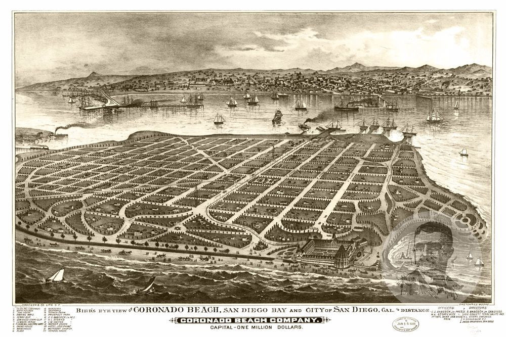 San Diego, CA Historical Map - 1880