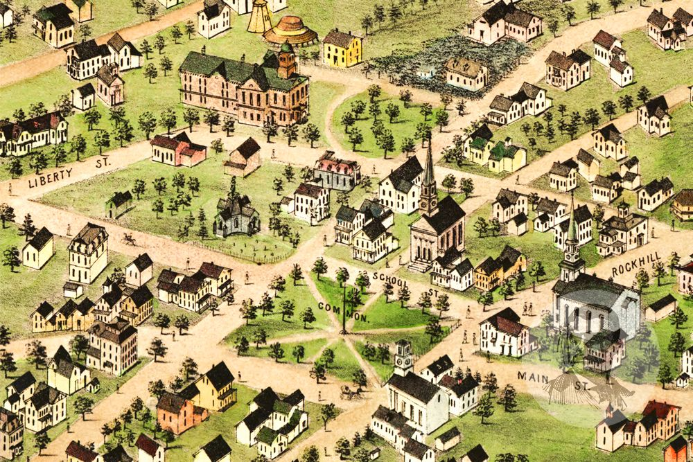 Foxborough, MA Historical Map - 1879 - Ted's Vintage Maps