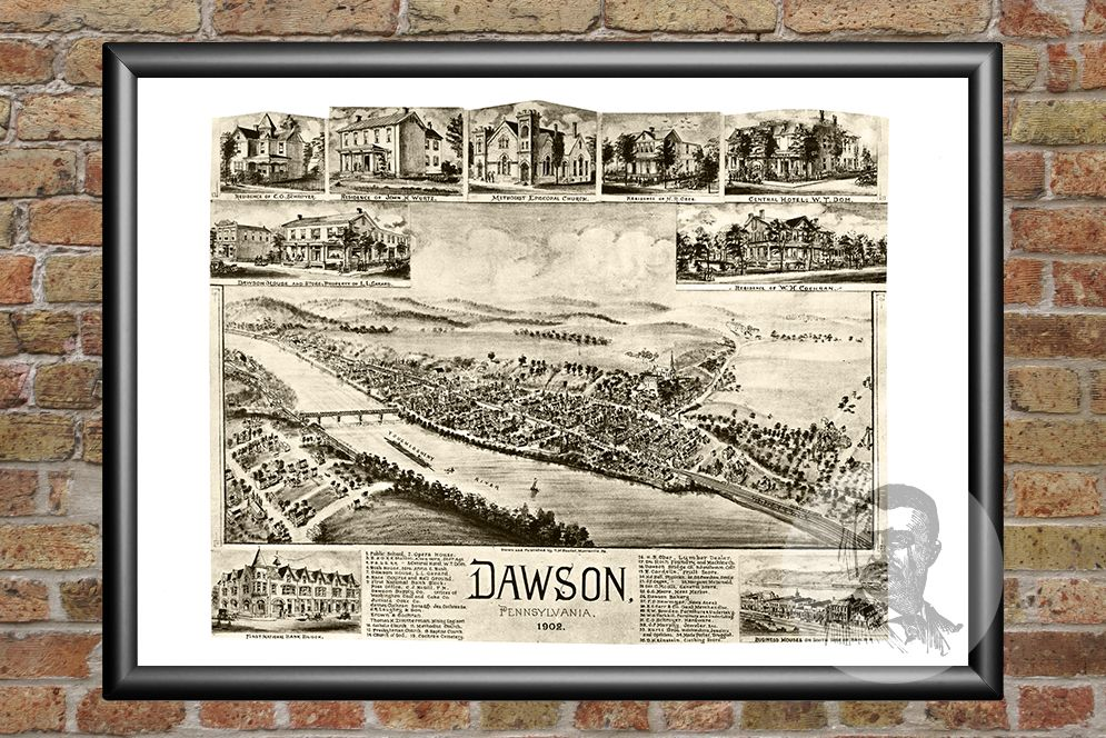 Dawson, PA Historical Map - 1902 - Ted's Vintage Maps