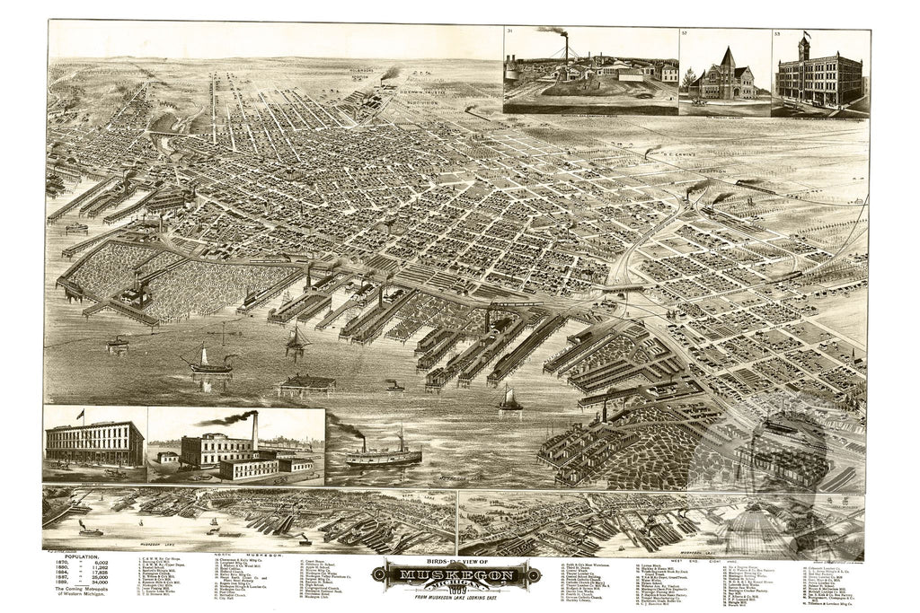 Muskegon, MI Historical Map - 1889