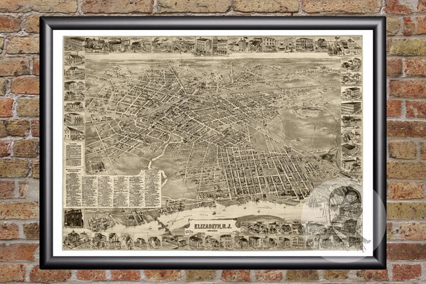 Elizabeth, NJ Historical Map - 1898