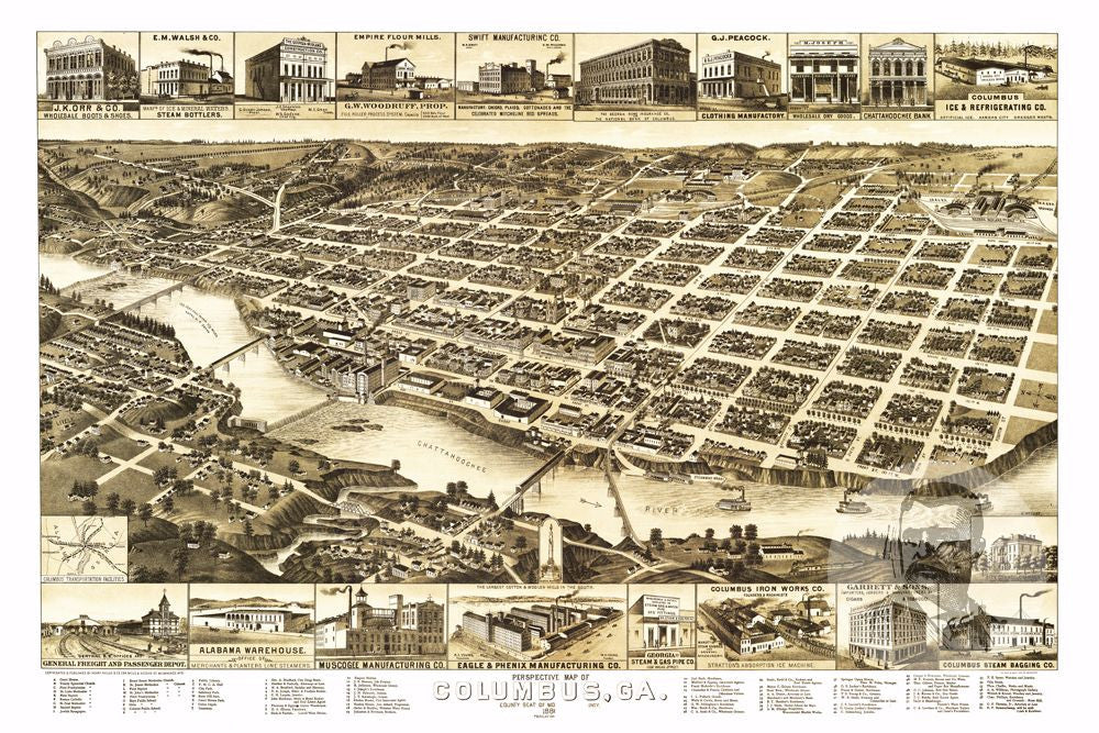 Columbus, GA Historical Map - 1886 - Ted's Vintage Maps