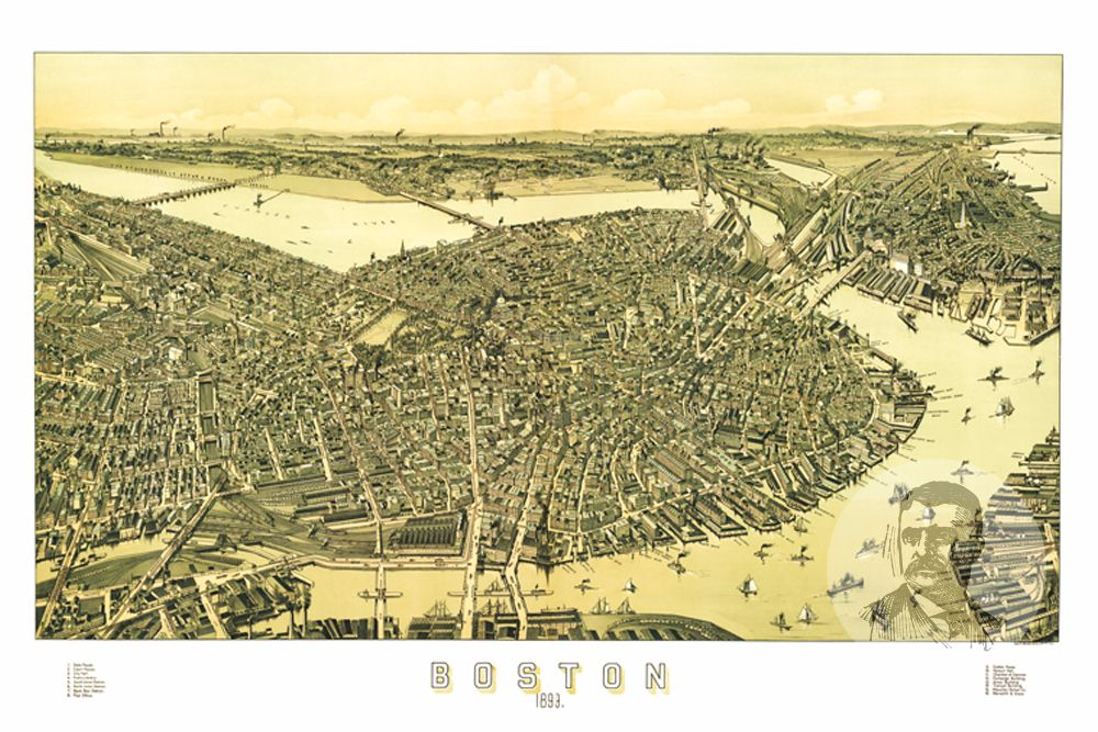 Boston, MA Historical Map - 1899 - Ted's Vintage Maps