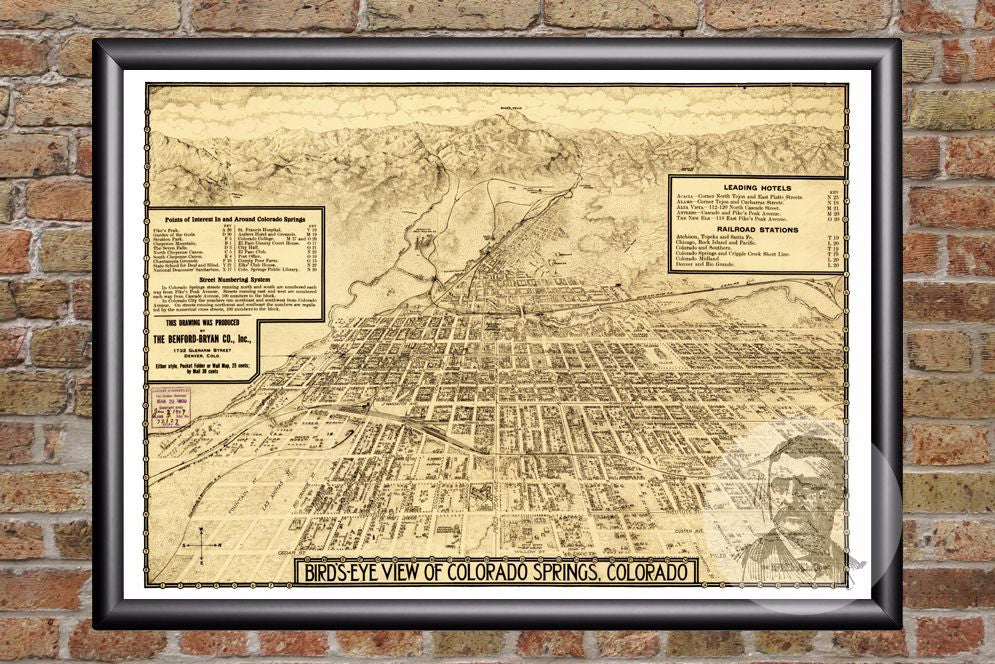 Colorado Springs, CO Historical Map - 1909 - Ted's Vintage Maps
