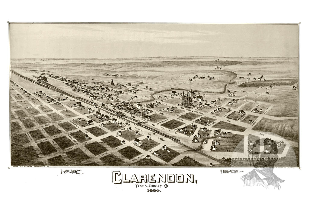 Clarendon, TX Historical Map - 1890 - Ted's Vintage Maps